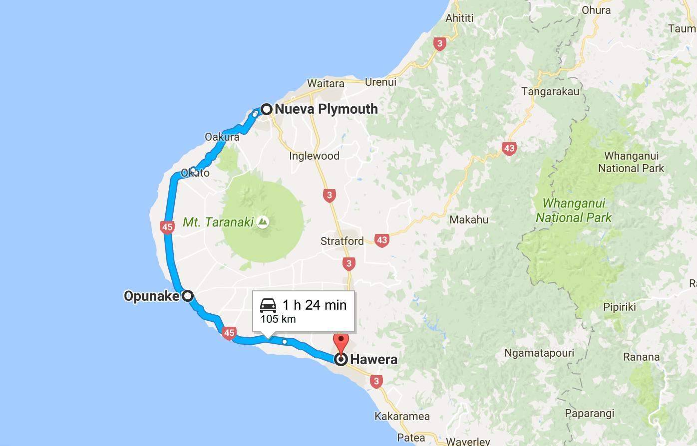 Desde New Plymouth a Hawera (Taranaki)