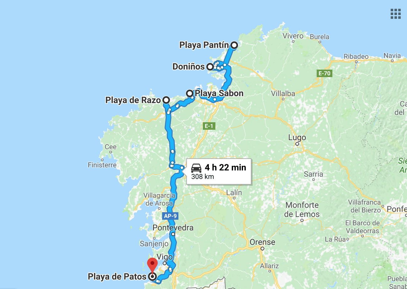 Surf route through Galicia