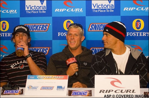 Kelly Slater, Andy Irons y Mick Fanning